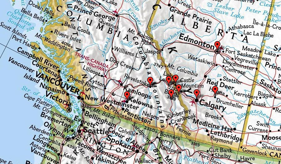 Big White, Sunshine Village, Kicking Horse, Lake Louise, Edmonton Shopping Mall, Calgary, Drumheller