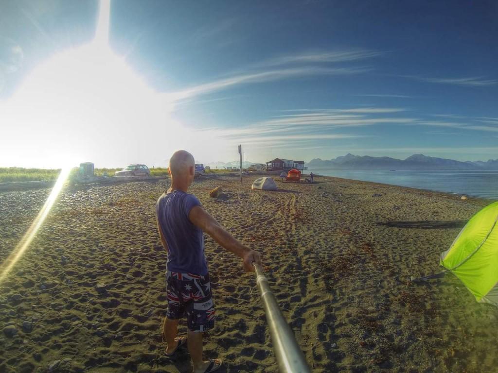 Strand, Sonne und zelten am Meer. Alles auf der Landzunge vor Homer