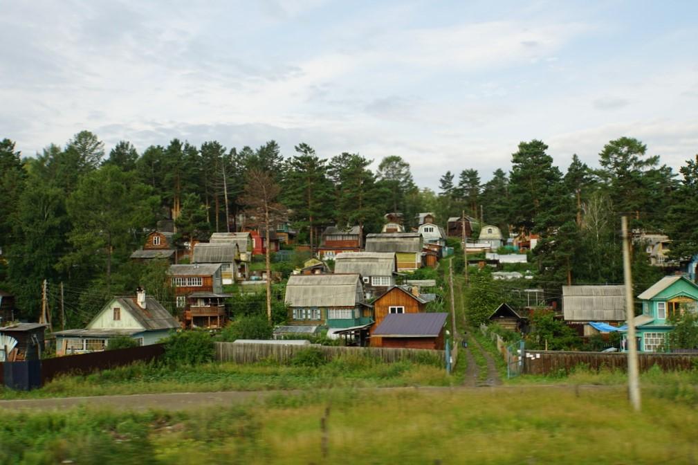 Blick über Sibiriens Häuser