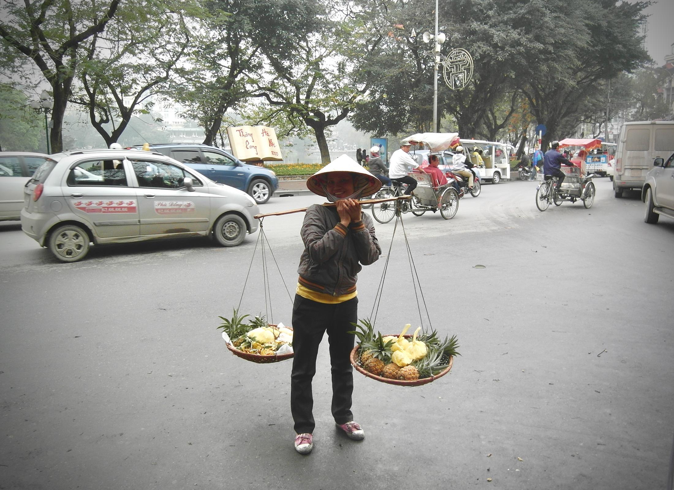 Ein Verkäufer in der Straße
