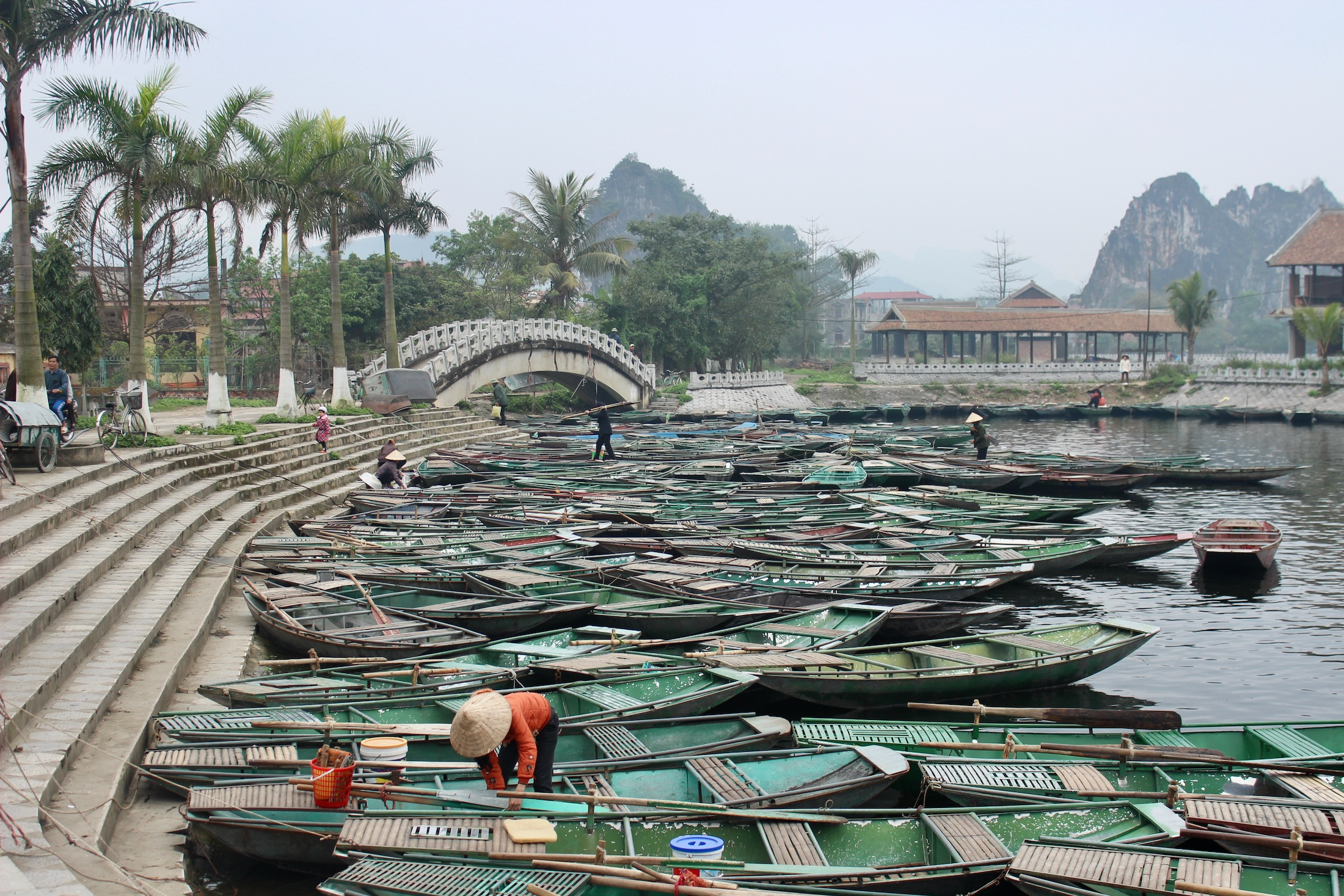 Boote bei Tam Coc